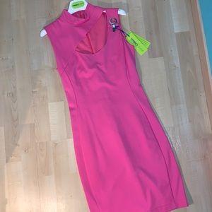 VERSACE JEANS Pink Cutout Bodycon dress w/ buckle